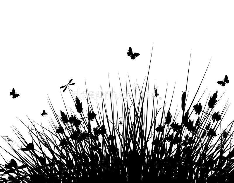 Meadow silhouette. Editable vector silhouette of grassy vegetation with wildlife stock illustration