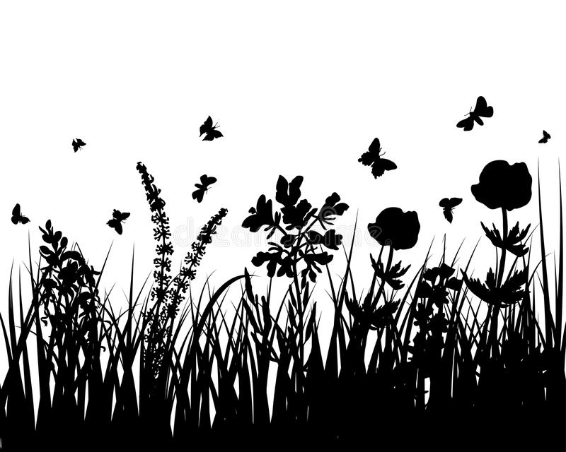 Download Meadow silhouettes stock vector. Image of branch, background - 10725184