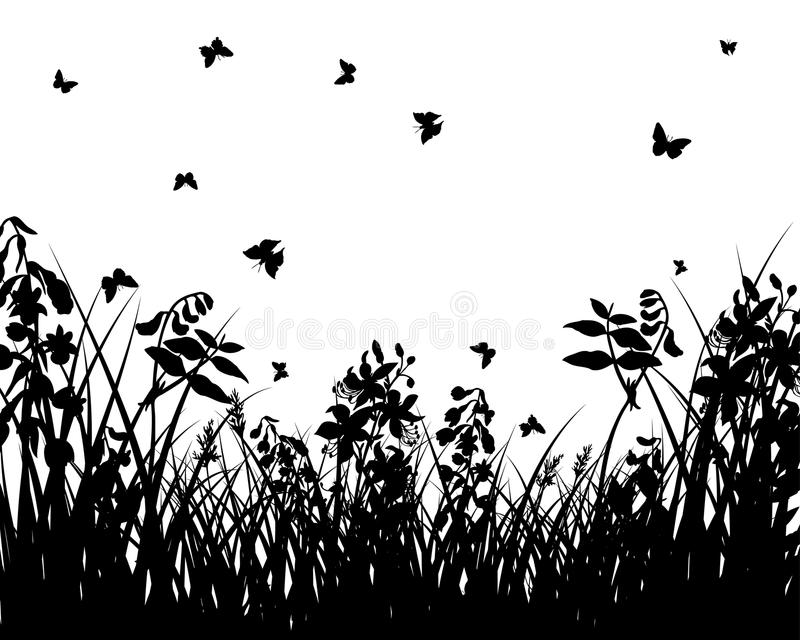 Download Meadow silhouettes stock vector. Illustration of branches - 12076379