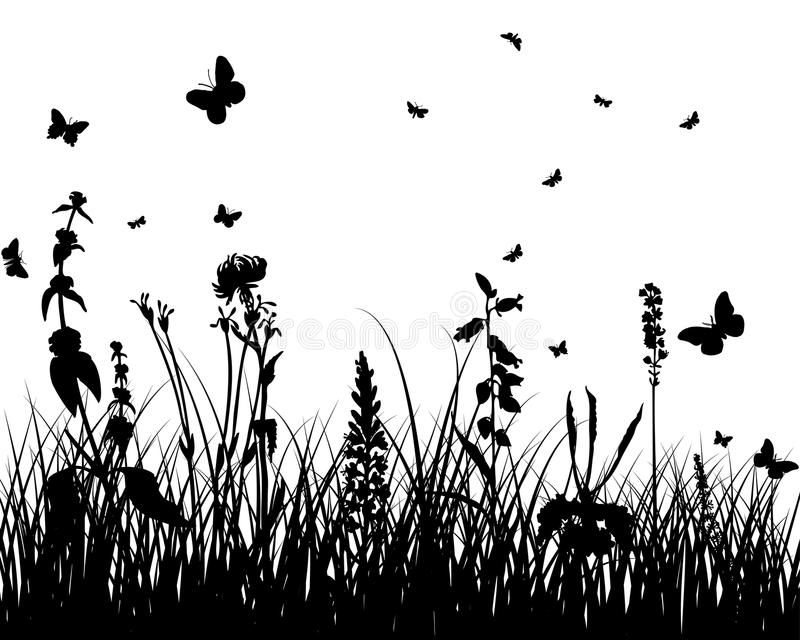 Download Meadow silhouettes stock vector. Image of grass, field - 12237216