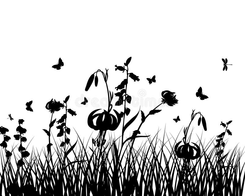 Download Meadow silhouettes stock vector. Illustration of floral - 12683064