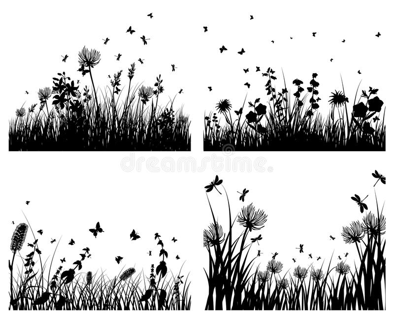 Download Meadow silhouettes stock vector. Image of background - 12748590
