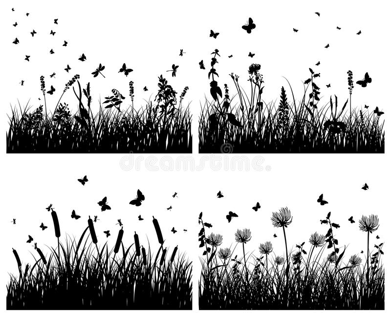 Download Meadow silhouettes stock vector. Image of element, collection - 12803278