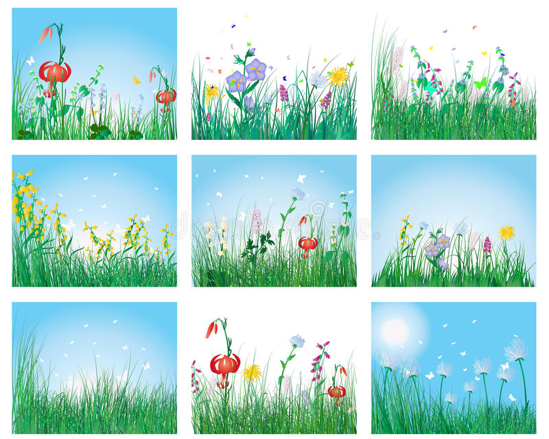 Download Meadow silhouettes stock vector. Image of element, field - 13241753