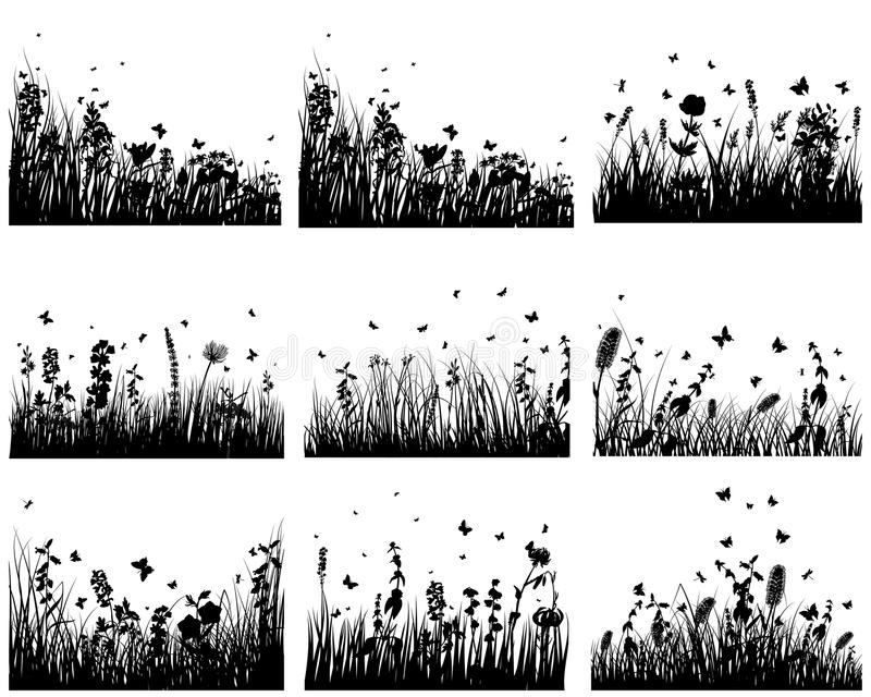 Download Meadow silhouettes stock vector. Image of butterfly, illustration - 13241758