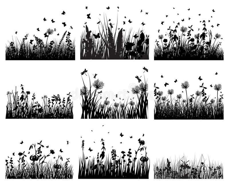 Download Meadow silhouettes stock vector. Illustration of garden - 13242097