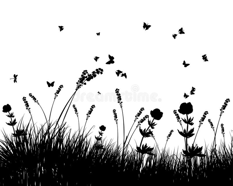 Download Meadow silhouettes stock vector. Image of drawing, floral - 15007828
