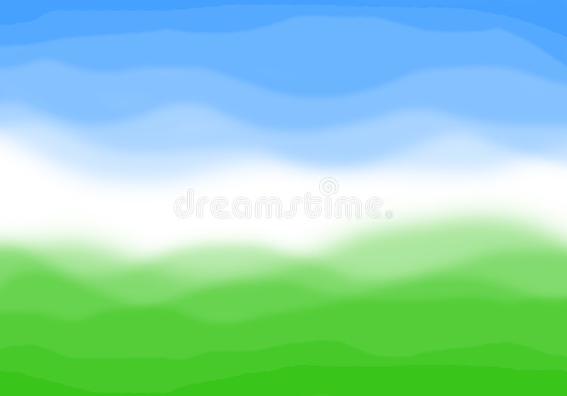 Meadow and sky abstract background. Blue and green abstract background. Green grass meadow and sky concept royalty free illustration