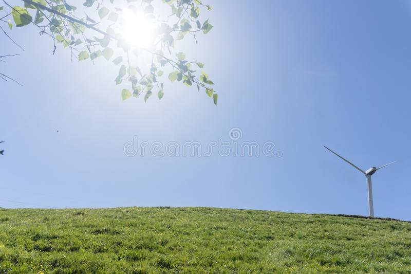 wind power station in the natural background, the concept of green energy. stock photography