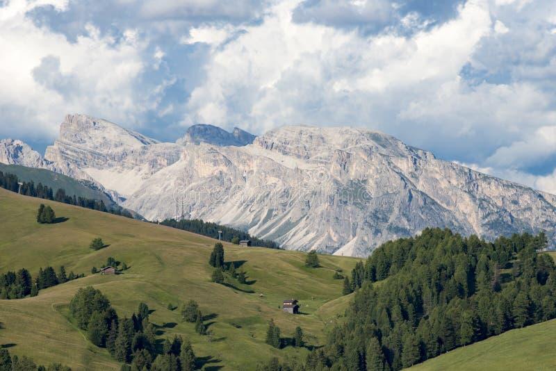 Meadows and Rocks Dolomites Alpe di Siusi, South Tyrol royalty free stock photos