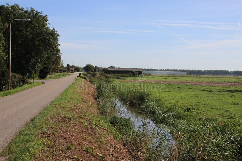 Meadows and farm of the Zuidplaspolder as part as part of lower area Netherlands royaltyfria foton