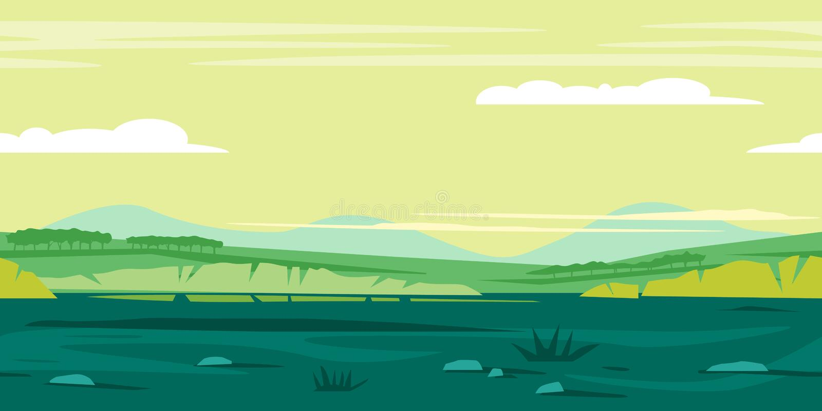 Meadows Game Background Landscape vector illustration