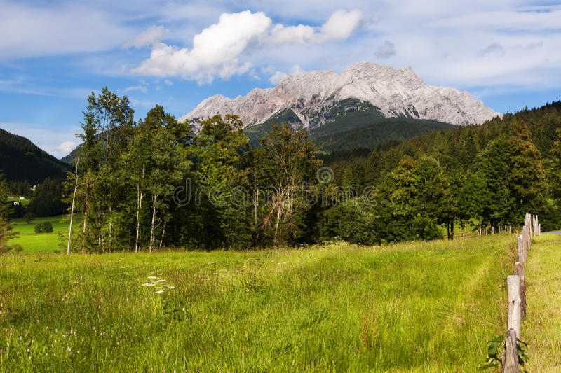 The Meadows and the Loferer Skihörndl near Wiesensee, Austria. View of the Loferer Skihörndl and the surrounding valley near Wiesensee in the Austrian Alps royalty free stock photography