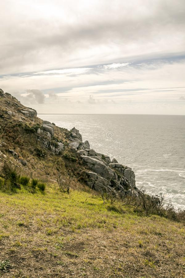 Meadows near the sea. In a cloudy day in the north of Spain stock photo