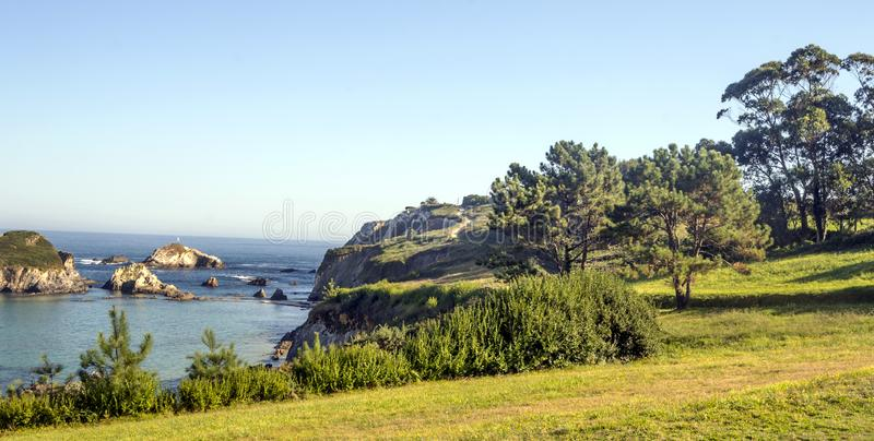 Meadows near the sea. In a sunny day in the north of Spain royalty free stock photo