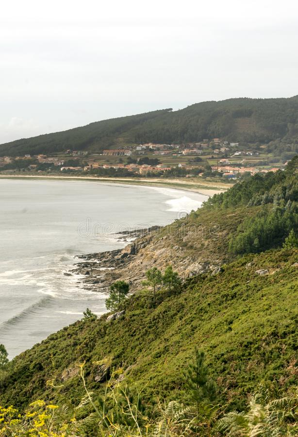 Meadows near the sea. In a cloudy day in the north of Spain stock photography