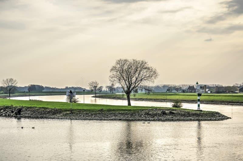 Gentle curve in the IJssel river stock photos