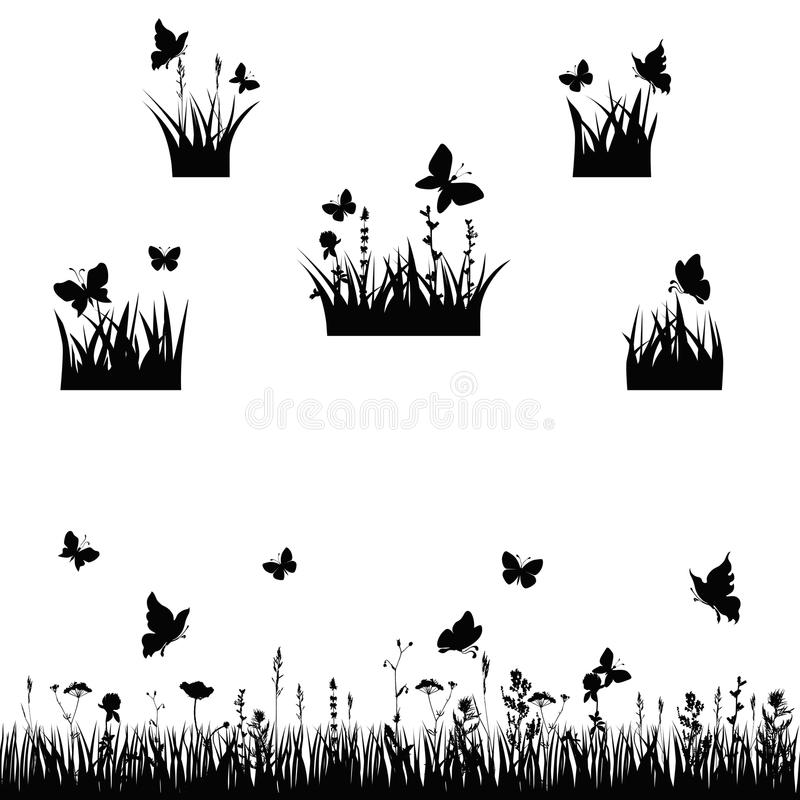 Meadows silhouette. Silhouettes grass and twigs of plants with butterflies. vector illustration stock illustration
