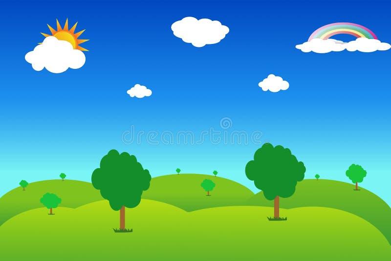 meadowwith blauer Himmel lizenzfreie abbildung