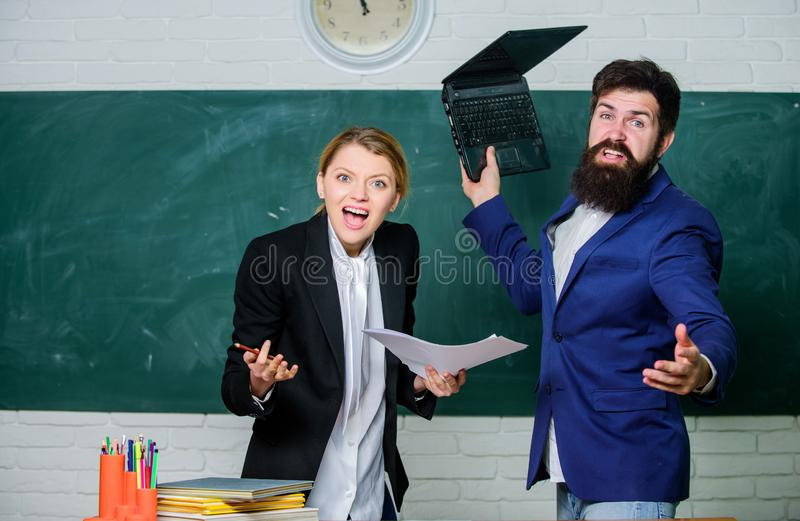 Meager knowledge of subject. Entering high school. Selection committee concept. Teacher and educator outraged test exam. Results. Examination board. College stock photo