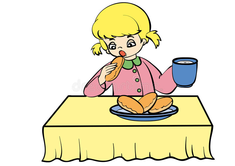 Meal. Girl eating a pie with milk stock illustration