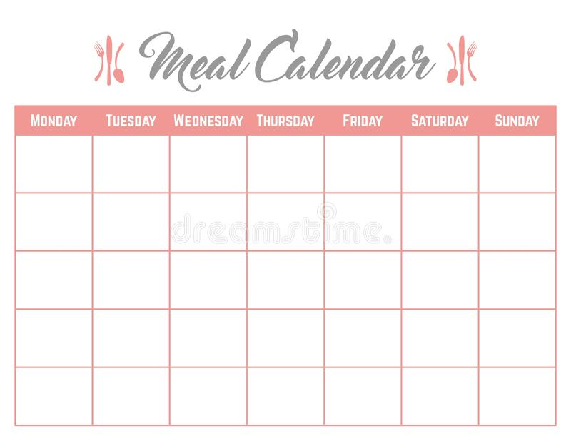 Meal Calendar Planner Card Poster elegant and cute royalty free stock photography