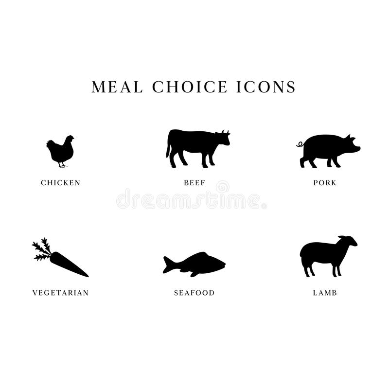 Meal Choice Icons. Set of 6 meal choice option icons. The set includes chicken, beef, pork, vegetarian, seafood / fish, and lamb royalty free illustration