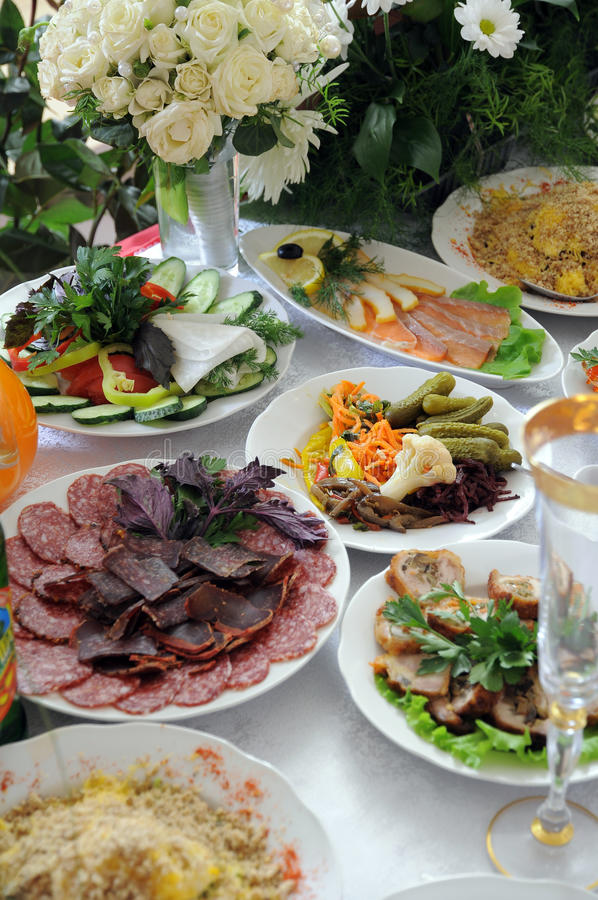 Meal on a festive table. royalty free stock photography
