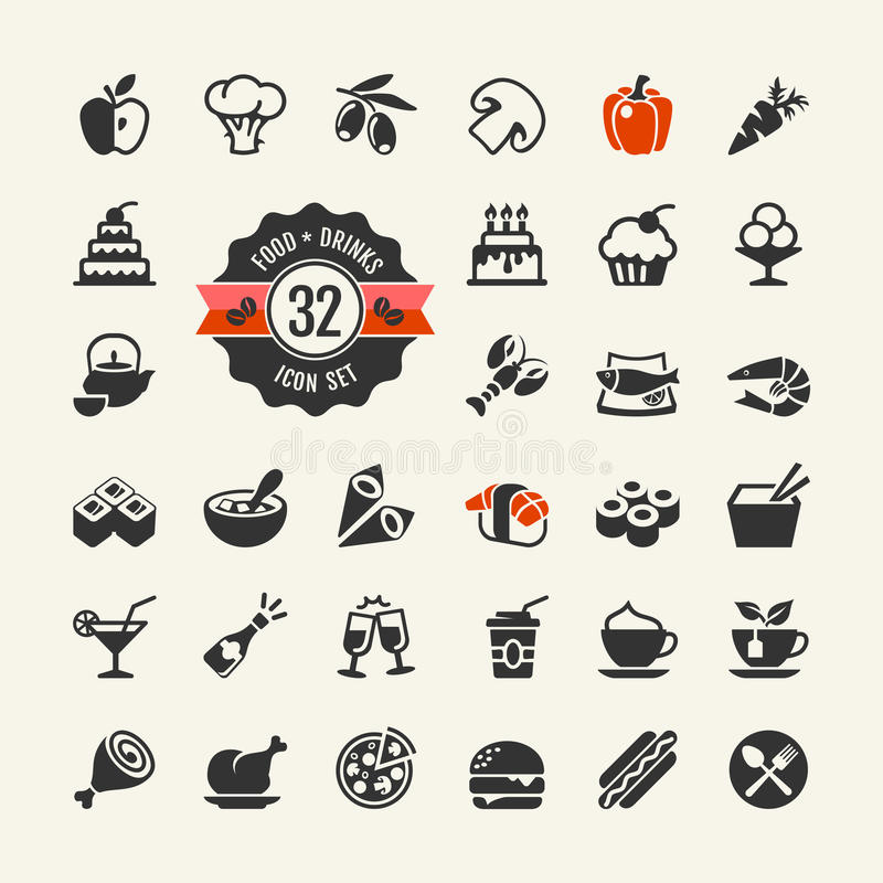 Meal icons set royalty free illustration