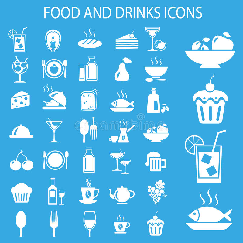 Meal icons. Set of food and drink icons. Vector illustration royalty free illustration