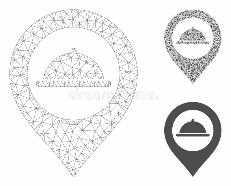 Meal Marker Vector Mesh Carcass Model and Triangle Mosaic Icon. Mesh meal marker model with triangle mosaic icon. Wire carcass polygonal mesh of meal marker vector illustration