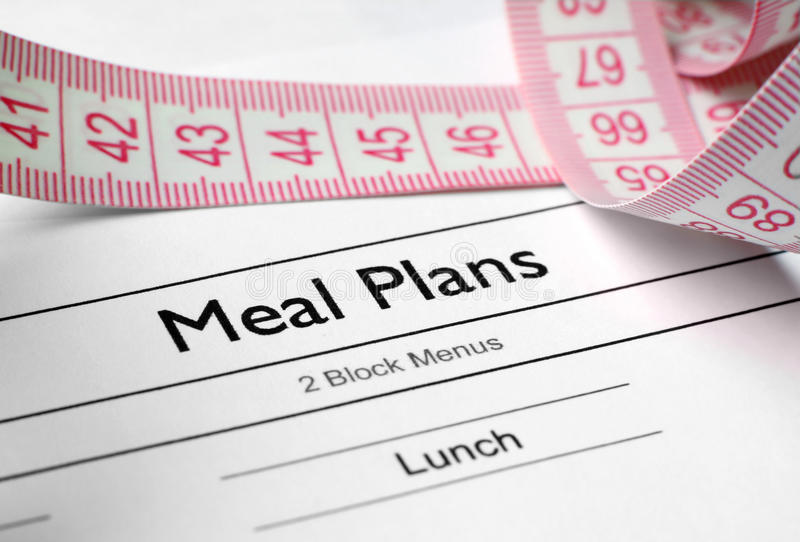 Meal plans. Close up of measure tape on meal plan stock images