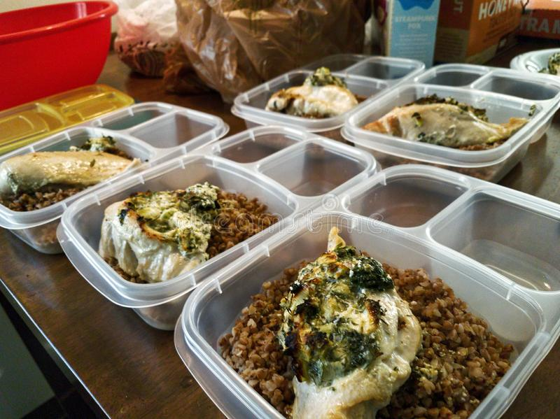 Meal prep of baked chicken with buckwheat royalty free stock image