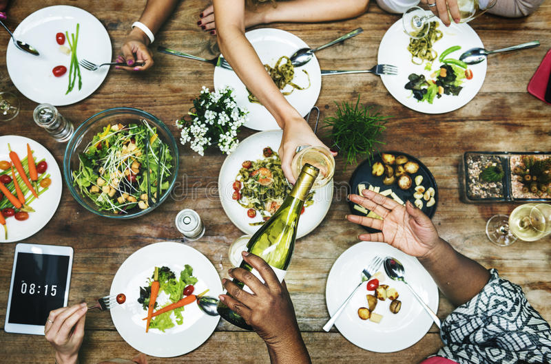 Meal Restaurant Party Foodie Luncheon Concept.  stock photos
