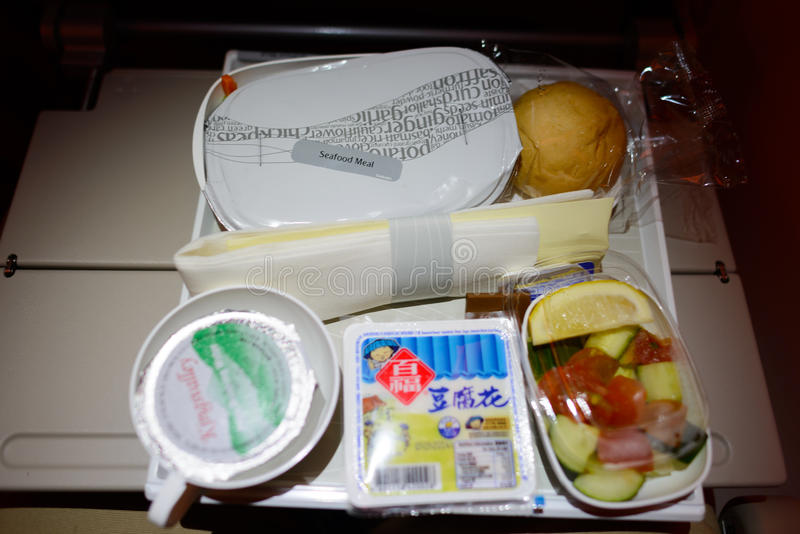 Meal served in Economy Class on Emirates stock photo