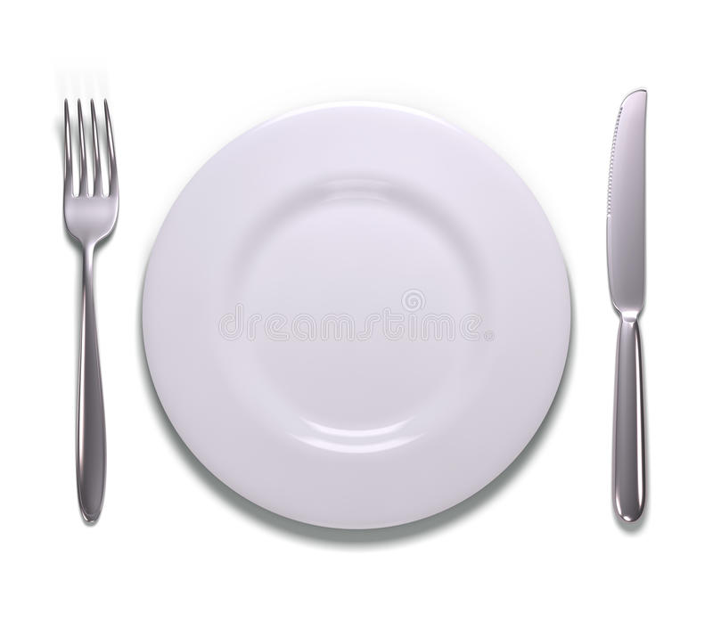 Meal Time Over White Stock Photos
