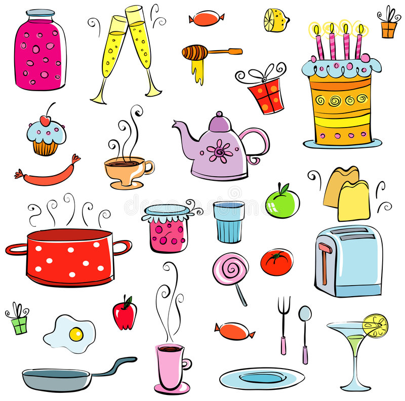 Meal and ware set. Set of drawings of meal and ware. Vector file available