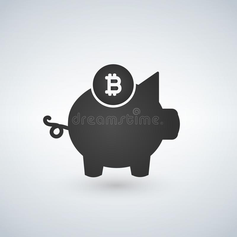 Mealheiro, ícone do bitcoin Moeda cripto salvar, conceito moniy da segurança para o design web, bandeira, app móvel Pagamento Cry ilustração royalty free