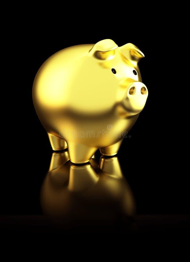 Mealheiro brilhante dourado no fundo reflexivo preto ilustração royalty free