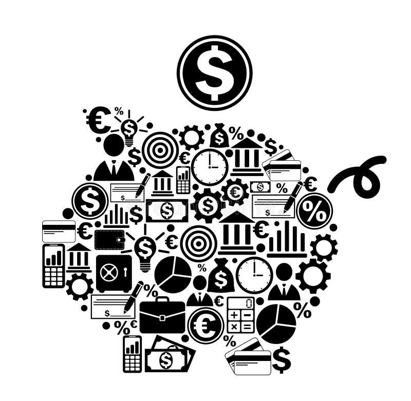 Mealheiro com ícones do dinheiro e da finança ilustração do vetor
