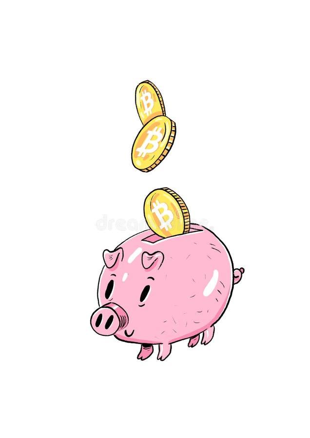 Mealheiro com as moedas e bitcoin dourados de queda Ilustração da aquarela isolada no fundo branco ilustração do vetor