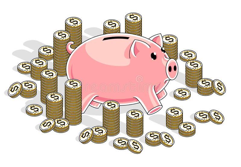 Mealheiro com as pilhas das moedas do centavo isoladas no fundo branco, ilustração do vetor