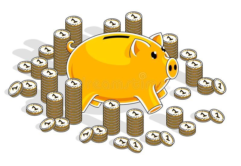 Mealheiro com as pilhas das moedas do centavo isoladas no fundo branco, ilustração royalty free