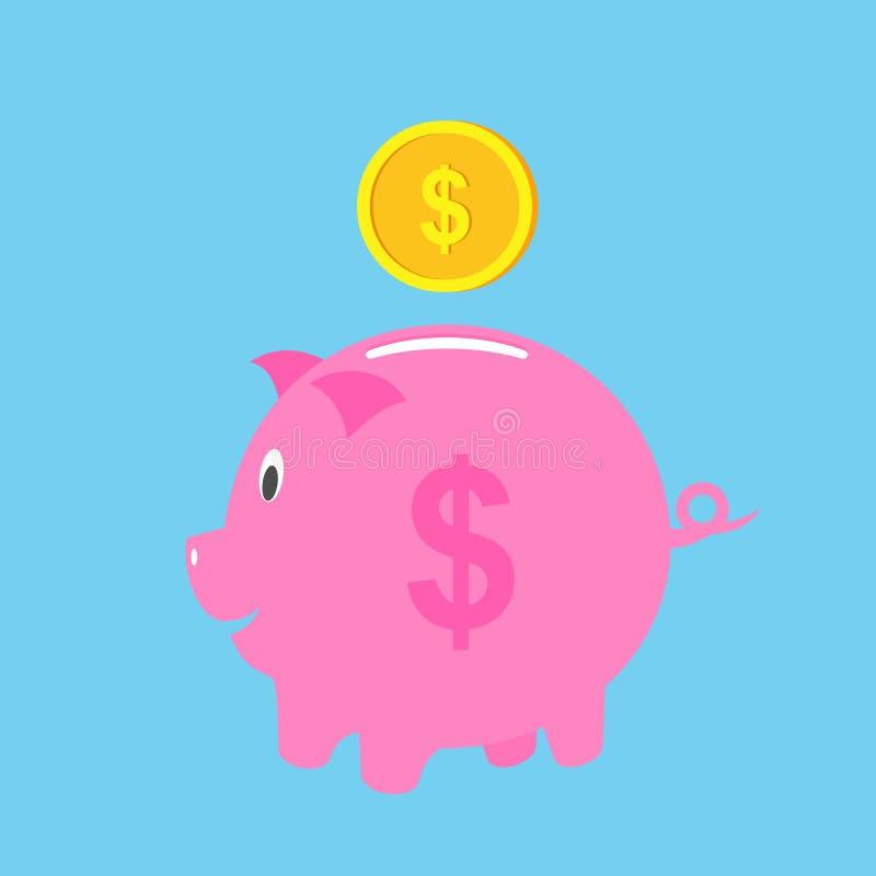 Mealheiro com ilustração do vetor da moeda Economia do ícone ou acumulação de dinheiro, investimento Mealheiro do ícone em um pla ilustração stock