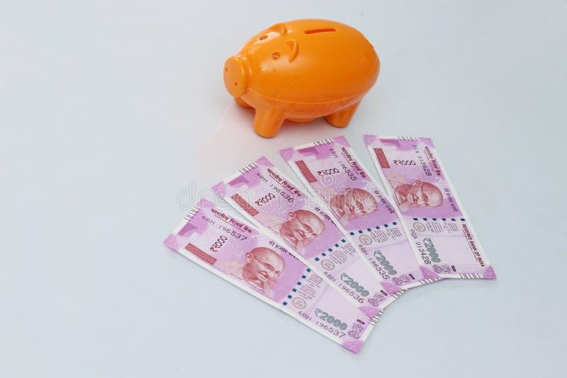Mealheiro com 2000 notas novas da rupia no fundo branco imagens de stock royalty free