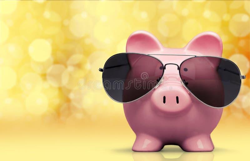 Mealheiro com os óculos de sol no fundo brilhante fotos de stock royalty free