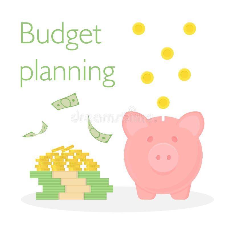 Mealheiro com uma pilha das moedas e uma pilha de dólares Cédulas e moedas de queda Planeamento do orçamento ilustração do vetor