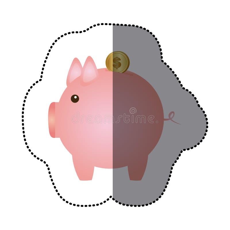 mealheiro cor-de-rosa da etiqueta com moeda do dólar ilustração stock