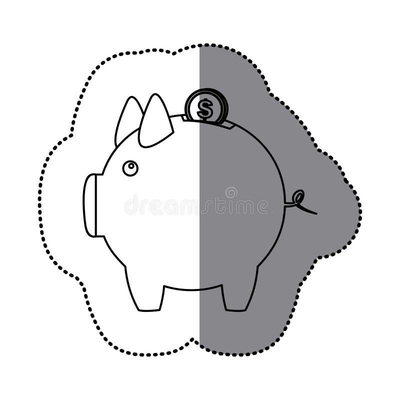 mealheiro da silhueta da etiqueta com moeda do dólar ilustração royalty free