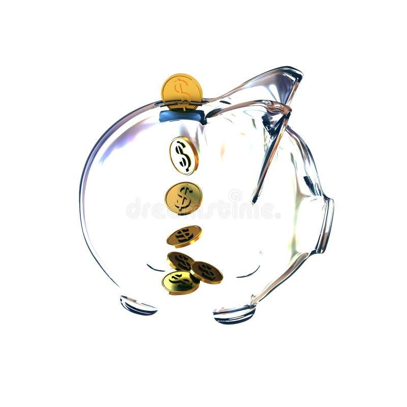 Mealheiro de vidro com moedas douradas ilustração royalty free